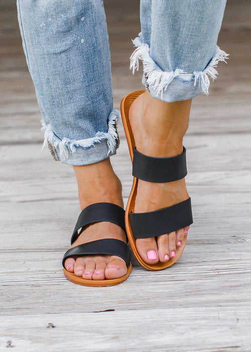Two Strap Sandals (5.5-10) *BLACK