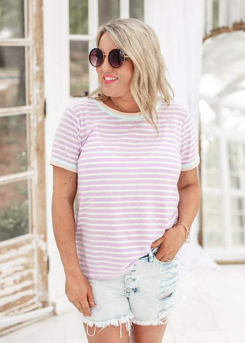 Jenny Stripe Top *PURPLE