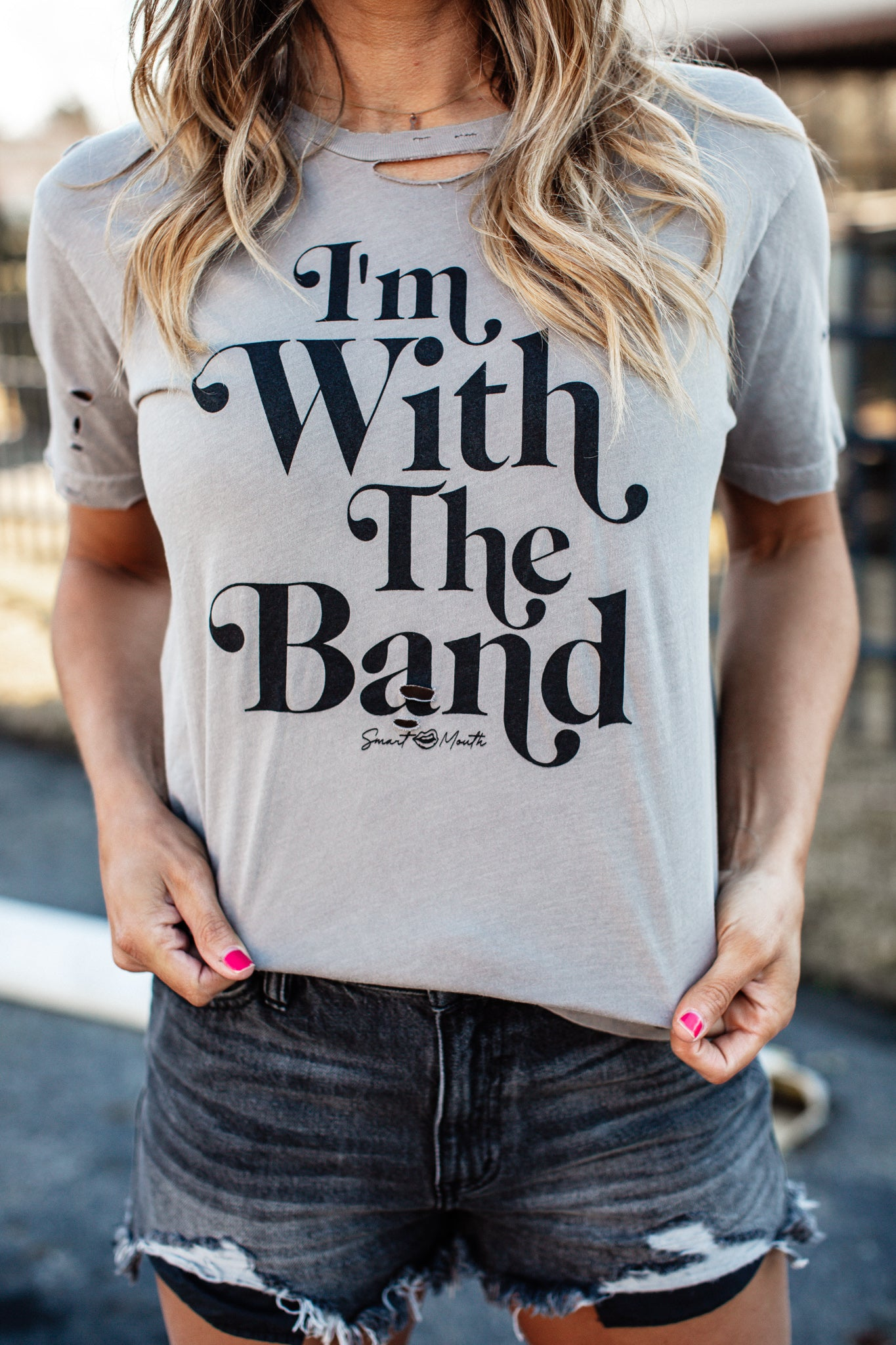 I'm With The Band Distressed Tee (S-2X)