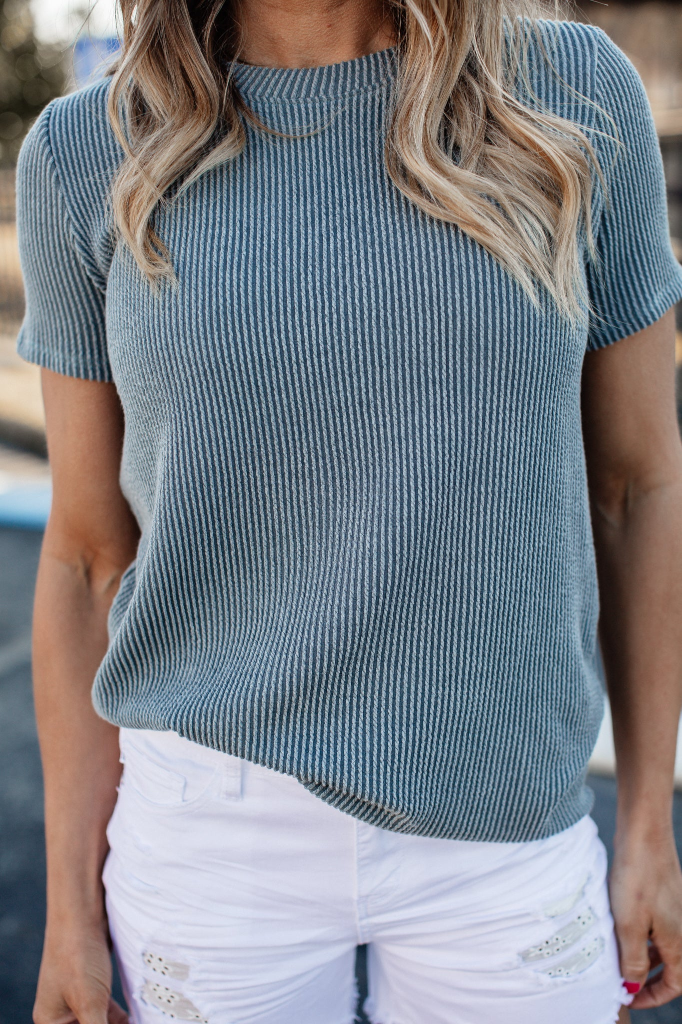 Clara Ribbed Top *SEAFOAM