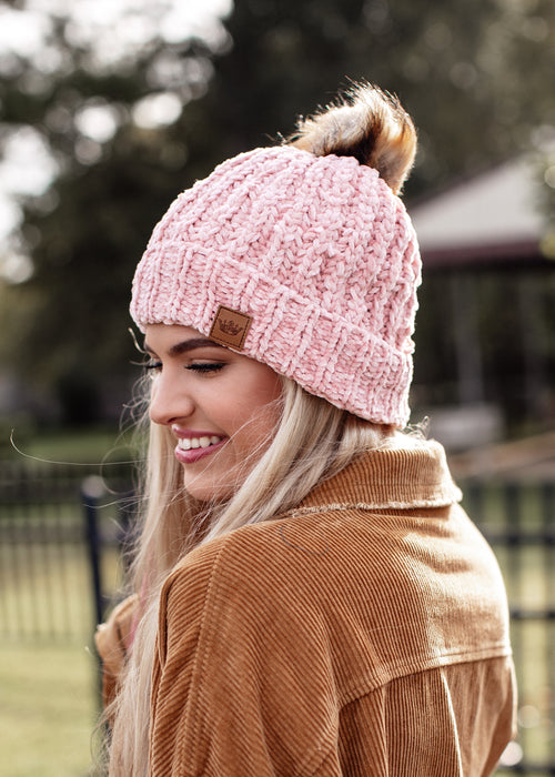 Pom Fleece Lined Chenille Beanie *PINK