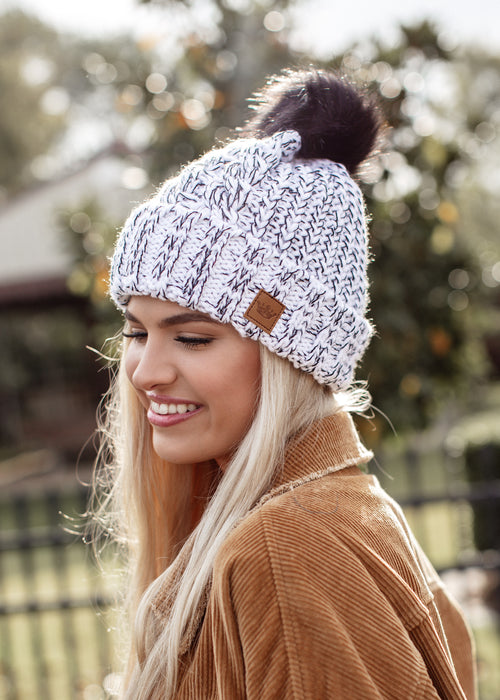 Mixed Black and White Knit Pom Beanie