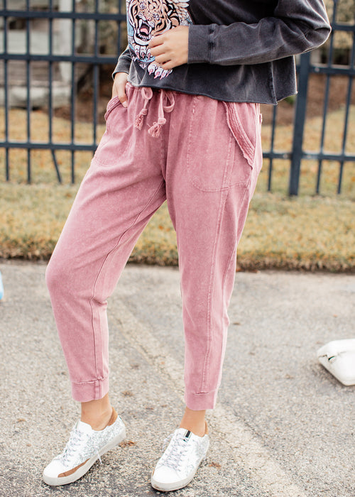 Mineral Wash Joggers *FADED PLUM