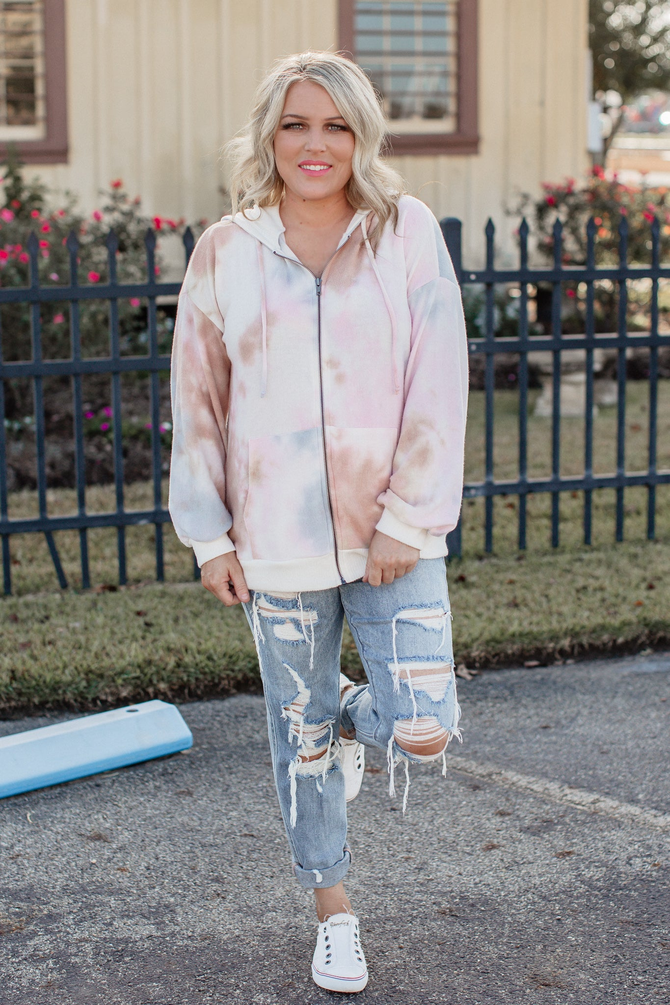 Zip Up Tie Dye Brushed Jacket (CAN SIZE DOWN)