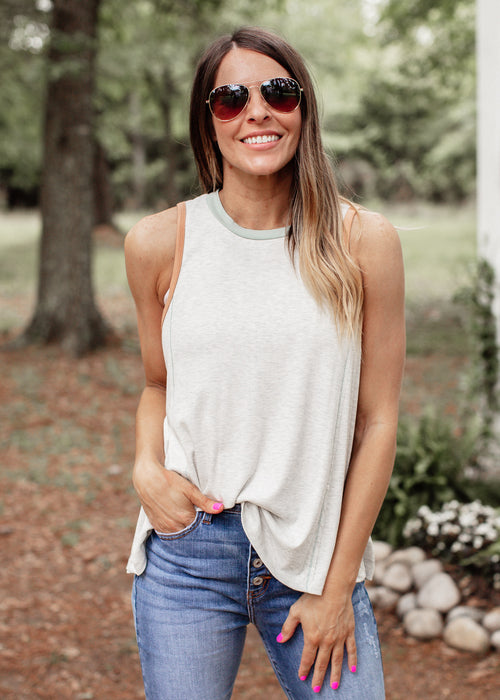 Patty Heather Grey Sleeveless Top
