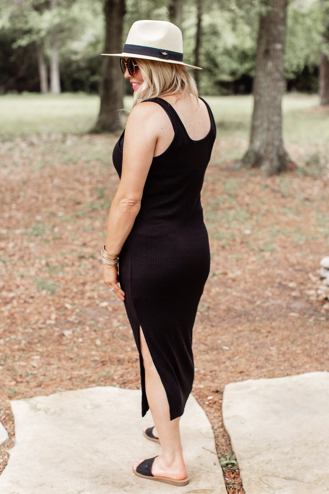 Ribbed Fitted Dress *BLACK