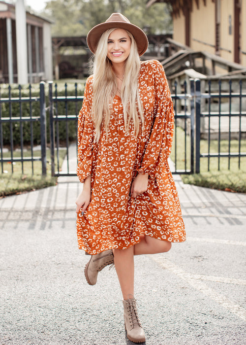 Carmel Floral Dress Over Sized
