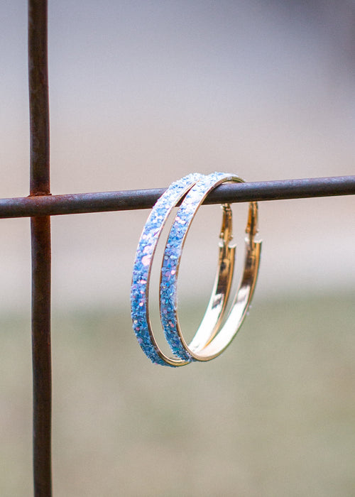 Light Blue Glitter Hoop Earrings