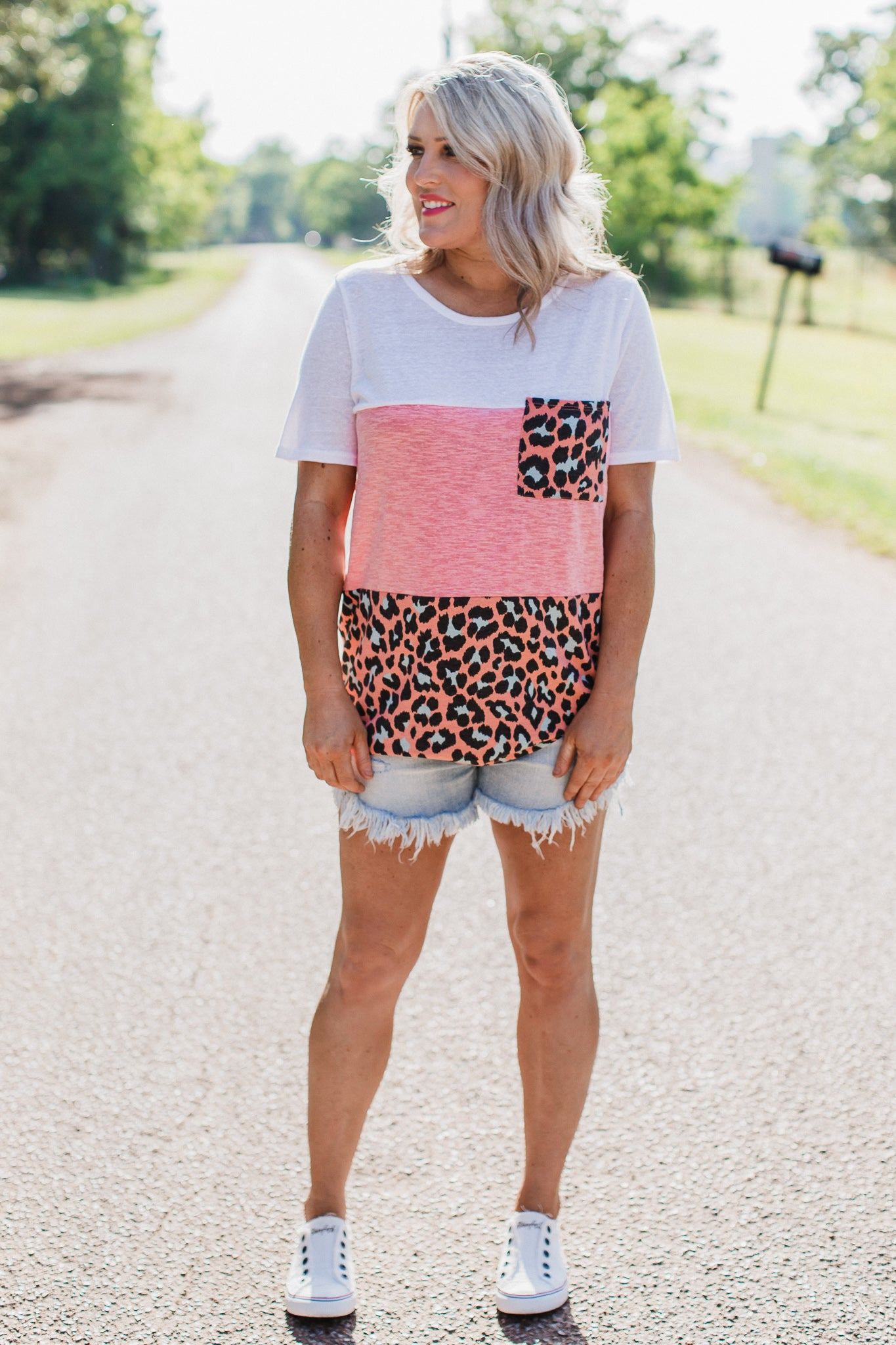 Coral Colorful Leopard Top