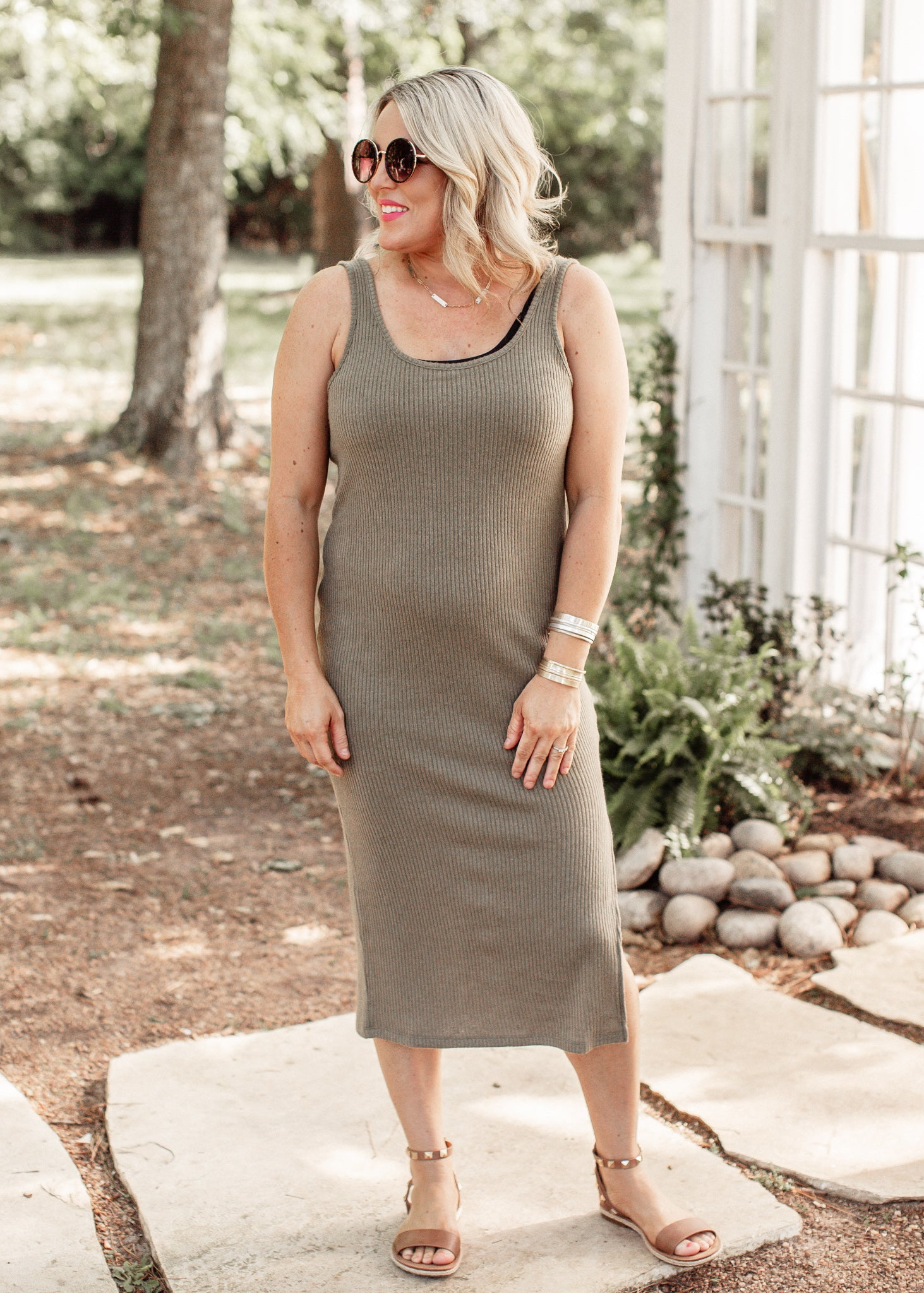 Ribbed Fitted Dress *OLIVE