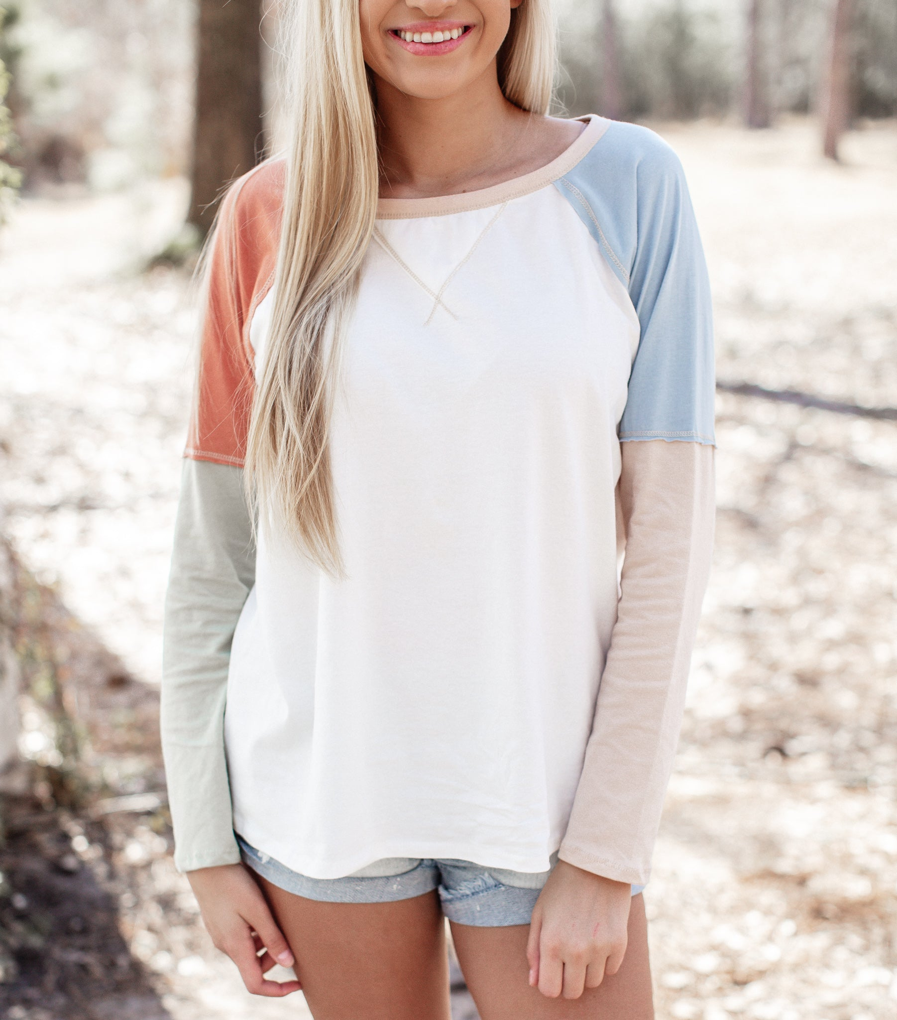 Julie Long Sleeve Color Block Top (S-XL)