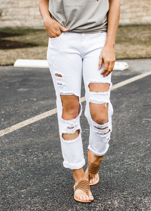 White Destroyed Hole Jeans (1-13)