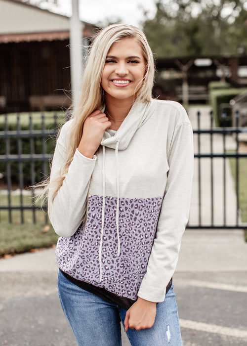 Oatmeal Cowl Neck Leopard Top