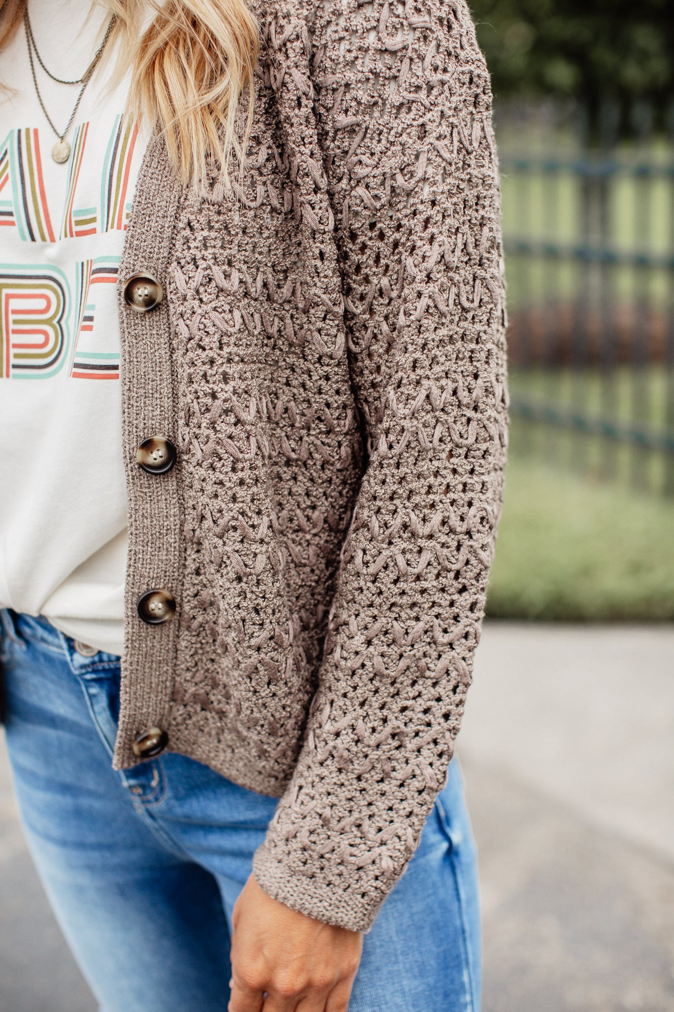 Crochet Button Down Cardigan *MOCHA