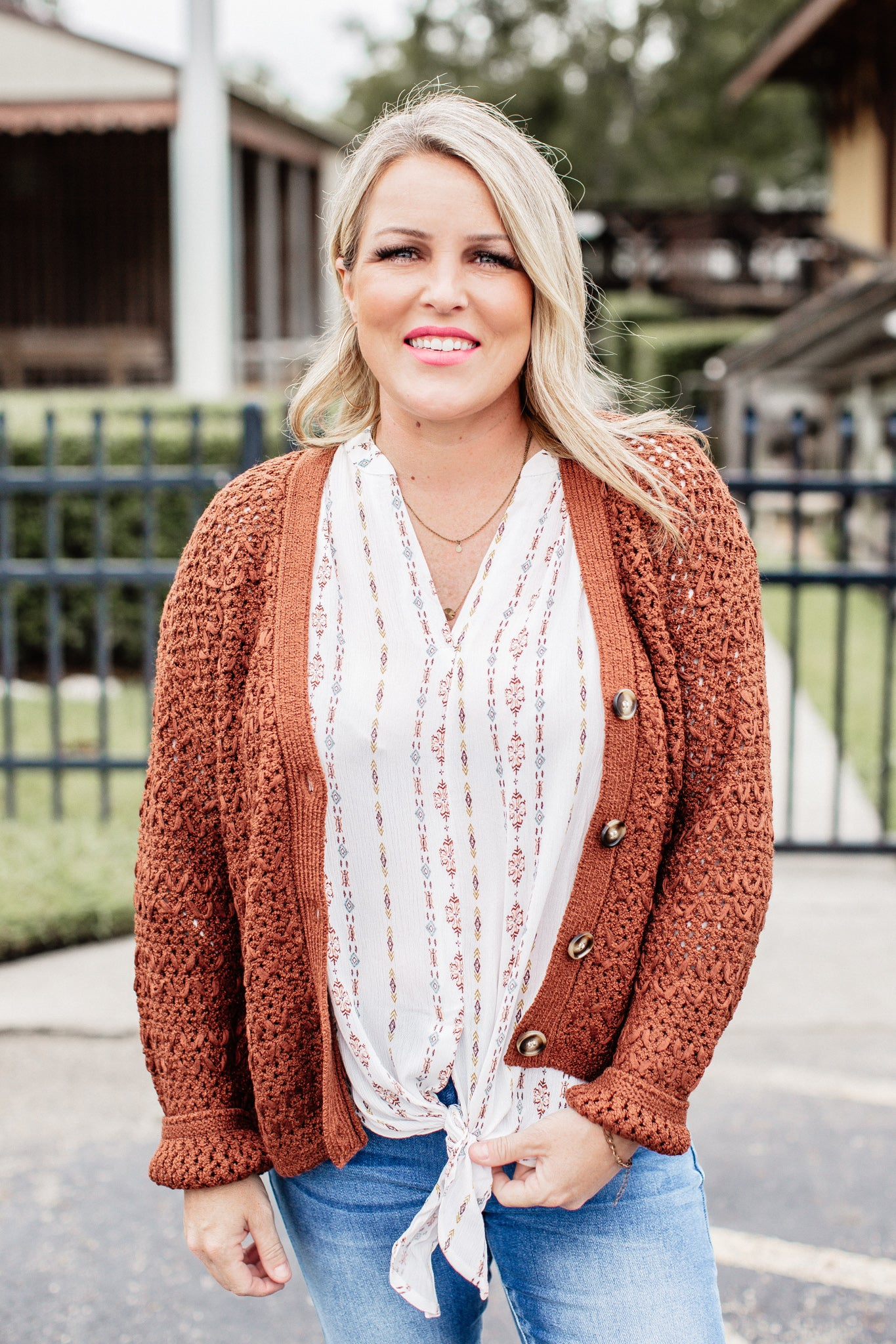 Crochet Button Down Cardigan * BURL WOOD