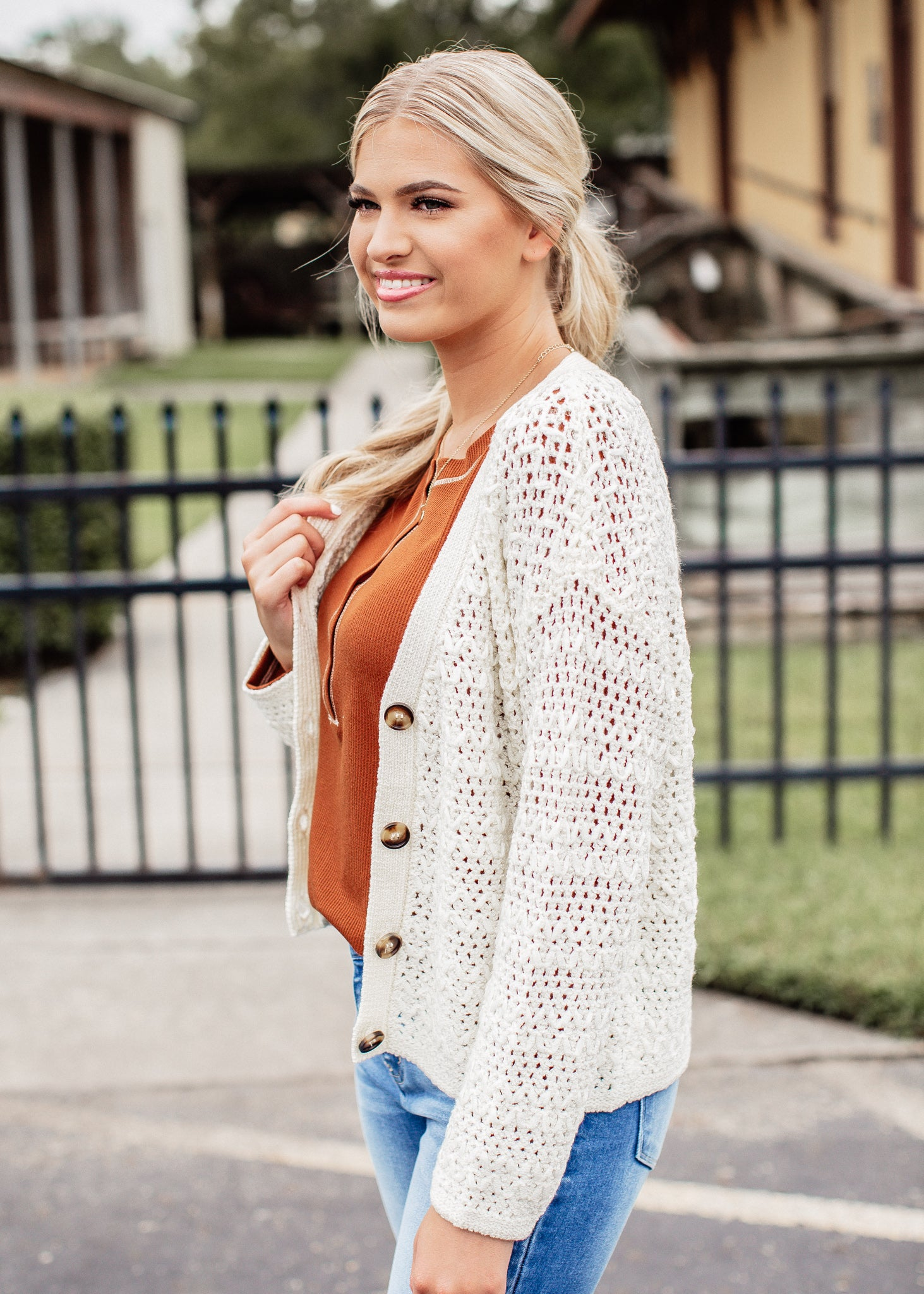 Crochet Button Down Cardigan *CREAM