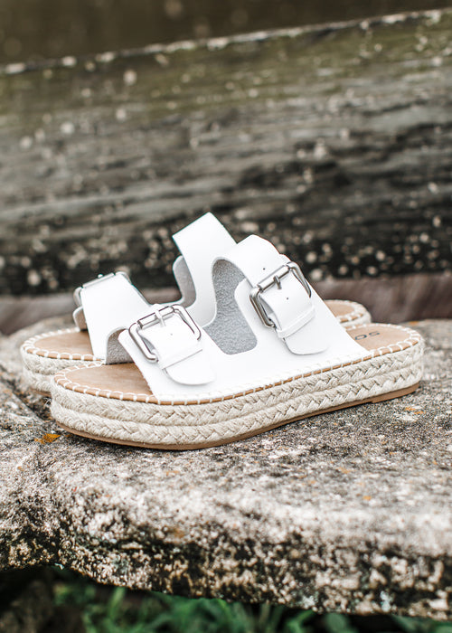 Leather Buckle Espadrille Shoe (6-11) *WHITE