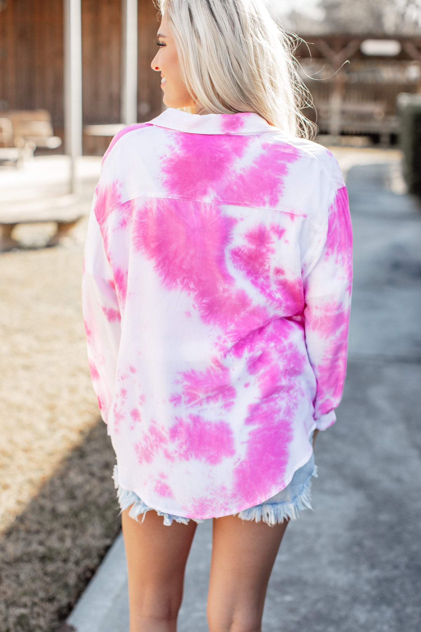 Pink Tie Dye Button Up Top
