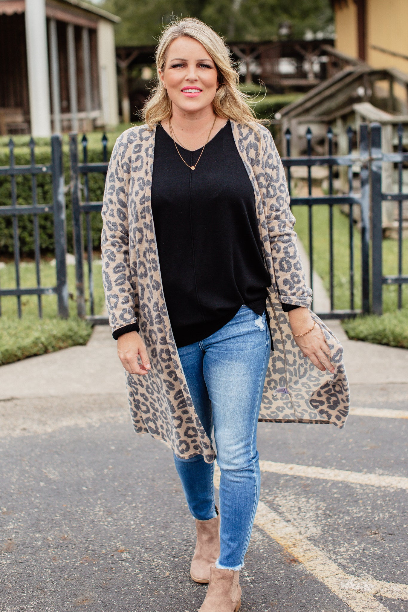 Leopard Brushed Cardigan