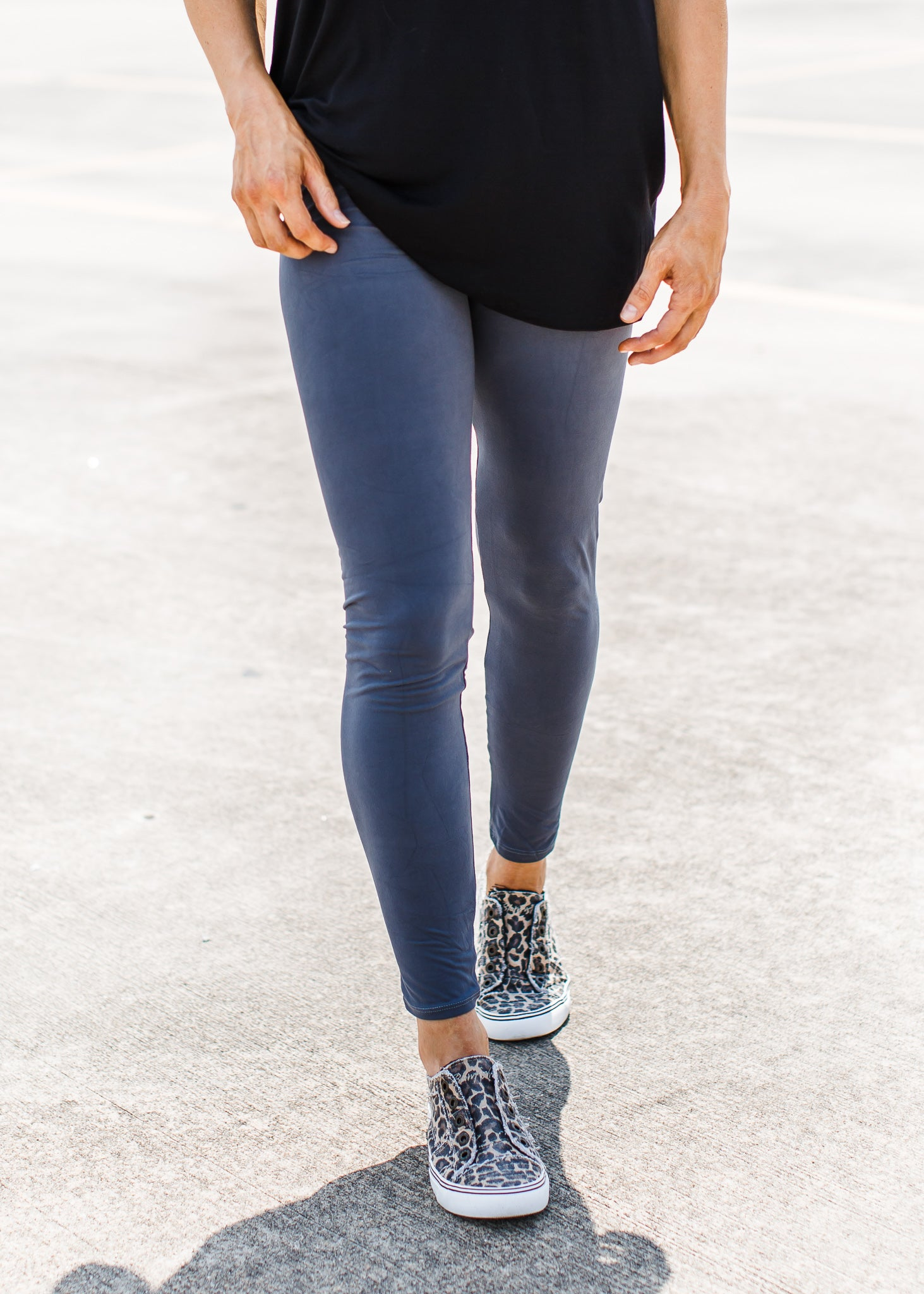 High Waist Leggings Charcoal ( One Size & One Size Plus )