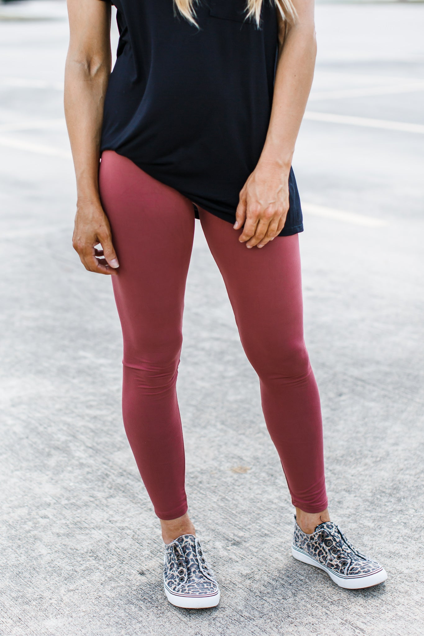 High Waist Leggings Marsala ( One Size & One Size Plus )