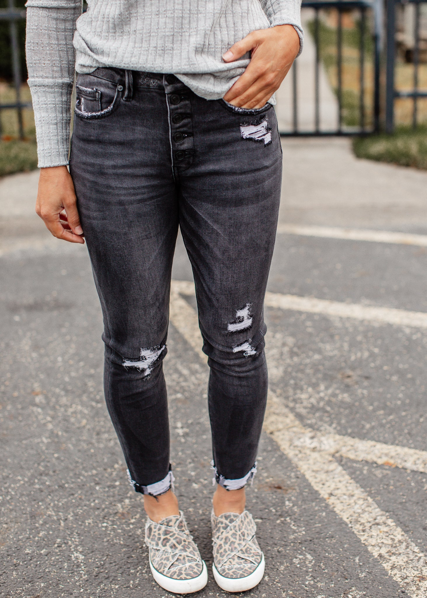 Marla Button Fly Faded Black Kancan Jeans (1-15)