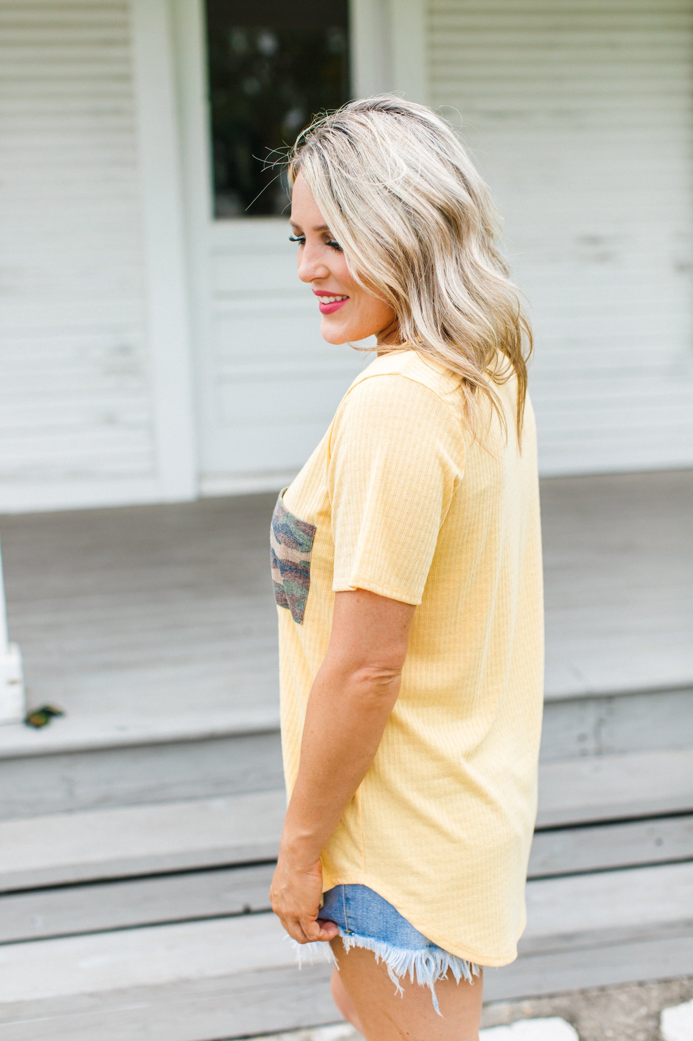 Fallon Camo Pocket Top *YELLOW