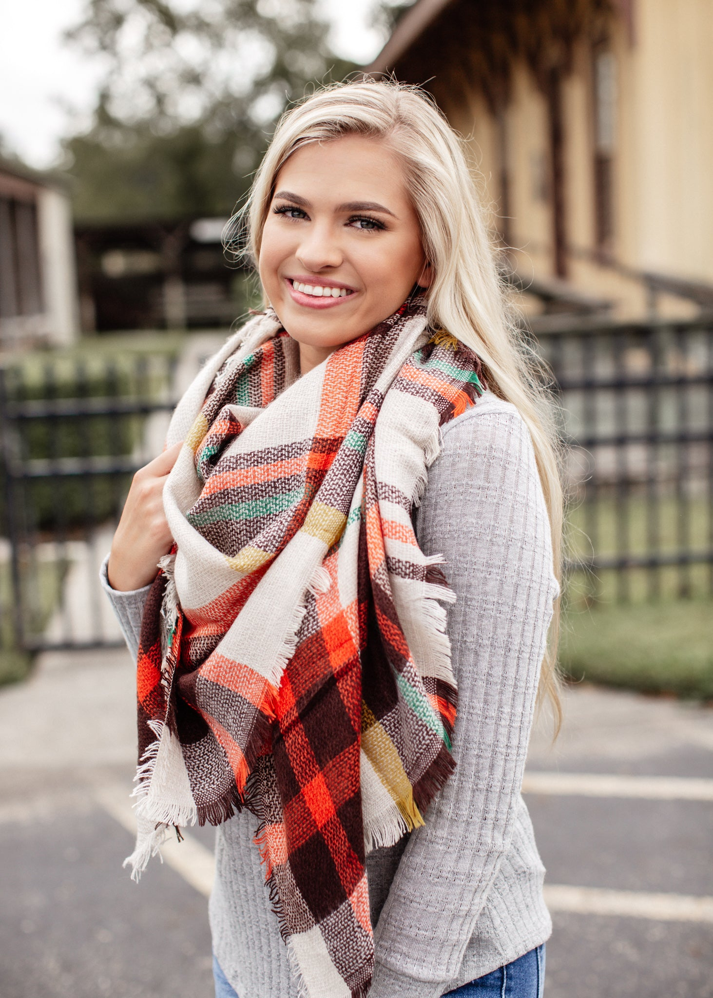 Blanket Scarf  Orange/Brown/Green/Yellow