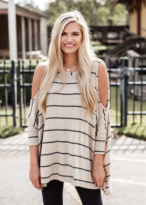 Taupe Could Shoulder Stripe top (can fit XL)
