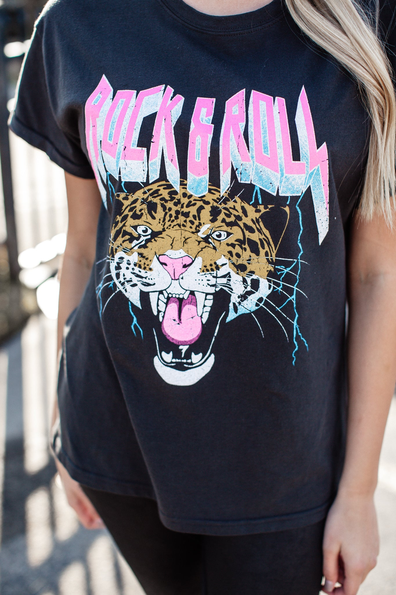 Rock and Roll Cheetah Top *BLACK