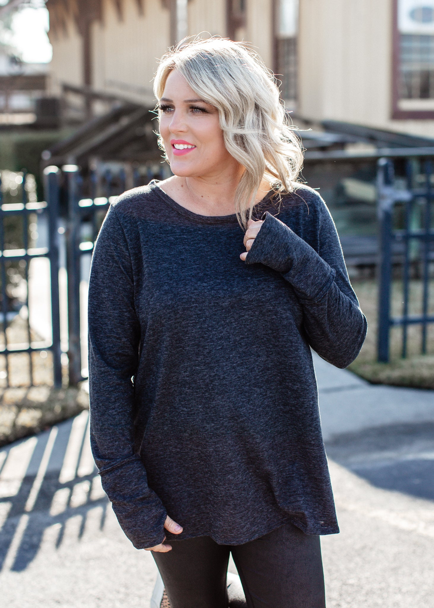 Thumbhole Slub Top (S-XL) *BLACK