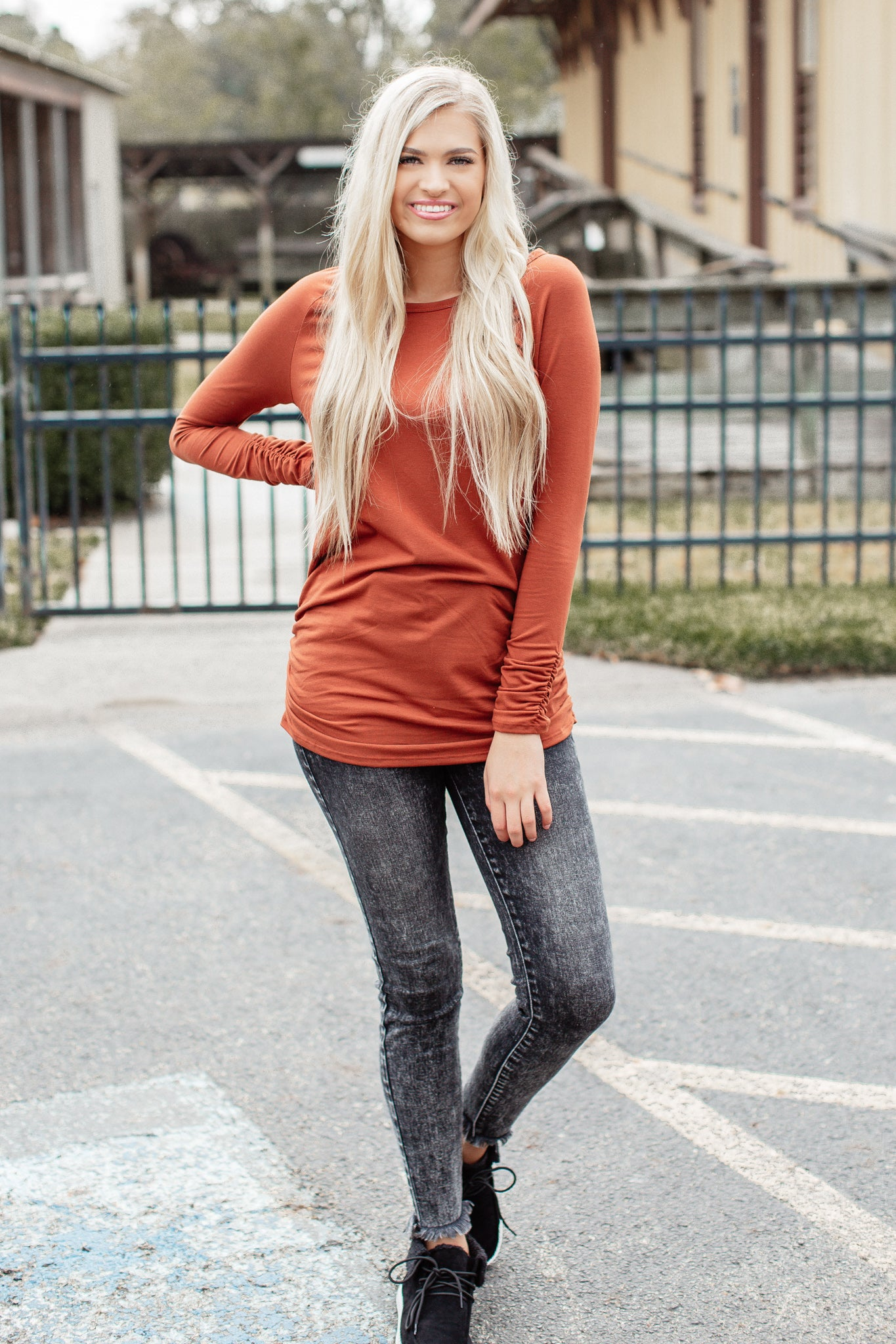 Fitted Solid Long Tunic *RUST
