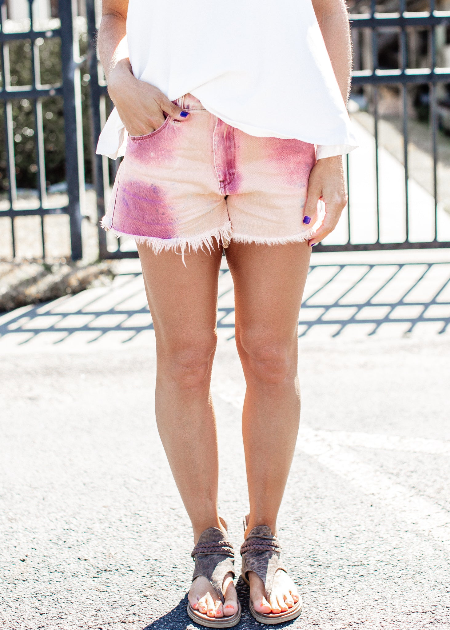 Tie Dye Fray Shorts *ROSE/PURPLE