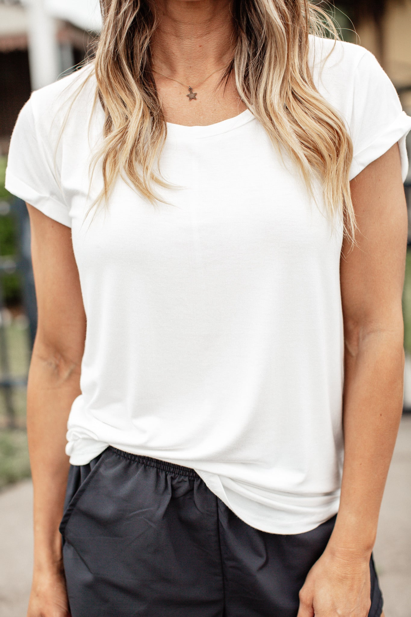 Cap Sleeve Basic Top *WHITE