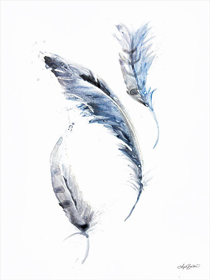 Angela Bawden AB114 - AB114 - Feather Blues - 12x18 Feathers, Blue Feathers, Watercolor from Penny Lane