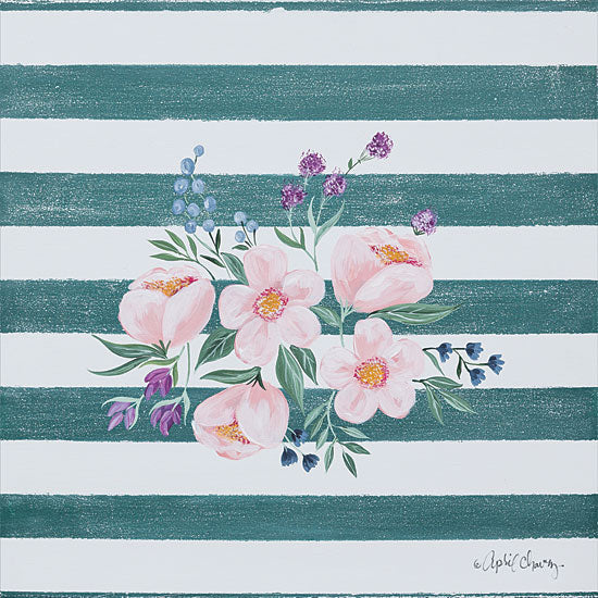 April Chavez AC121 - Among the Flowers I - 12x12 Flowers, Pink Flowers, Blooms, Stripes from Penny Lane