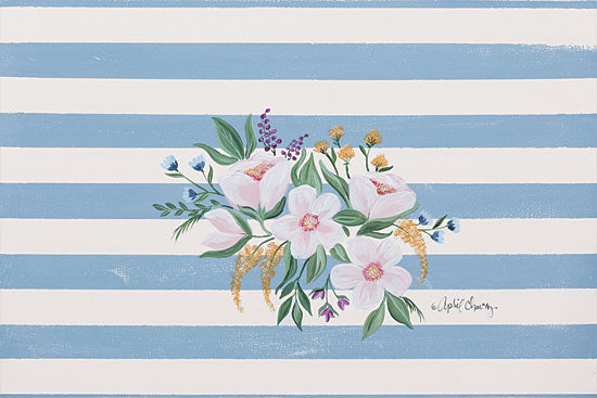 April Chavez AC122 - Among the Flowers II - 18x12 Flowers, Pink Flowers, Blooms, Stripes from Penny Lane