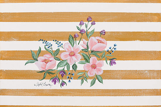 April Chavez AC123 - Among the Flowers III - 18x12 Flowers, Pink Flowers, Blooms, Stripes from Penny Lane