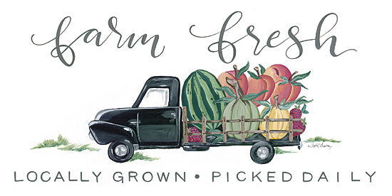 April Chavez AC146 - AC146 - Farm Fresh Produce Truck - 24x12 Farm Fresh, Fruits and Vegetables, Truck, Farm, Calligraphy, Signs from Penny Lane