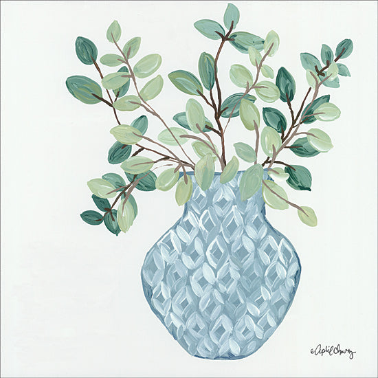 April Chavez AC153 - AC153 - Grace Upon Grace   - 12x16 Eucalyptus, Plants, Blue and White Vase, Geometric, Greenery from Penny Lane