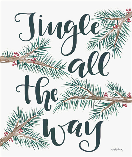 April Chavez AC156 - AC156 - Jingle All the Way     - 12x16 Signs, Typography, Christmas, Music, Ivy, Greenery from Penny Lane