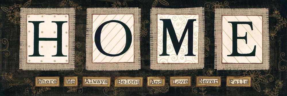 Annie LaPoint ALP1101 - ALP1101 - Home        - 36x12 Home, Block Letters, Burlap, Family, Love, Signs from Penny Lane