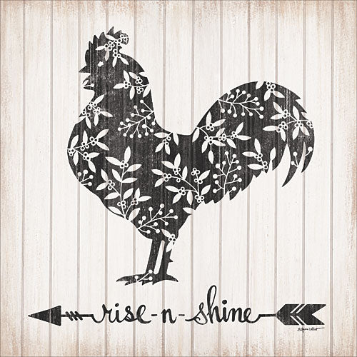 Annie LaPoint ALP1636 - Rise N Shine Rooster - Arrow, Rooster, Flowers, Sepia, Wood Planks from Penny Lane Publishing