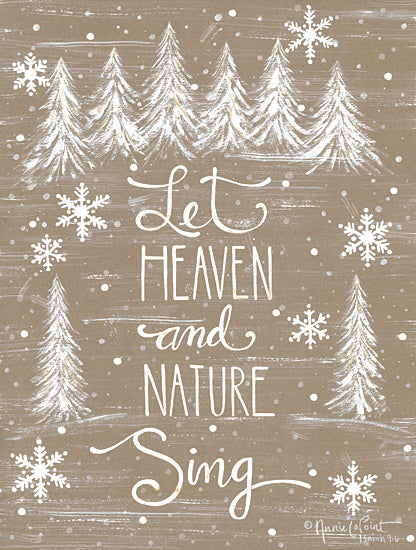 Annie LaPoint ALP1897 - ALP1897 - Let Heaven and Nature Sing - 12x16 Signs, Typography, Christmas Trees, Snowflakes, Music from Penny Lane