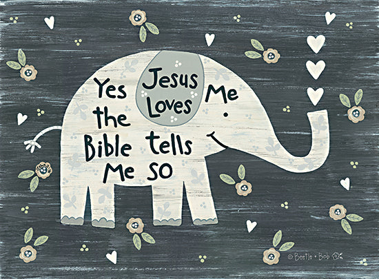 Annie LaPoint ALP1964 - ALP1964 - Jesus Loves Me Elephant      - 16x12 Elephant, Baby, Jesus Loves Me, Lyrics, Music, Hearts from Penny Lane