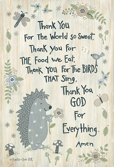 Annie LaPoint ALP1965 - ALP1965 - Thank You God    - 12x18 Hedgehog, Thank You, Thank you God, Religious, Signs, Baby from Penny Lane