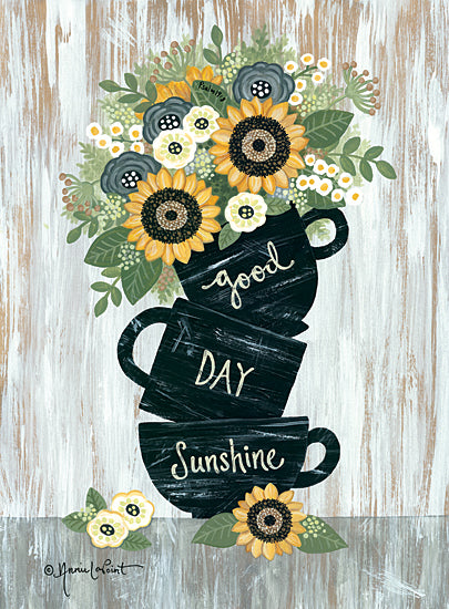 Annie LaPoint ALP1968 - ALP1968 - Good Day Sunshine - 12x16 Good Day Sunshine, Mugs, Coffee Cups, Sunflowers, Flowers, Botanical, Signs from Penny Lane