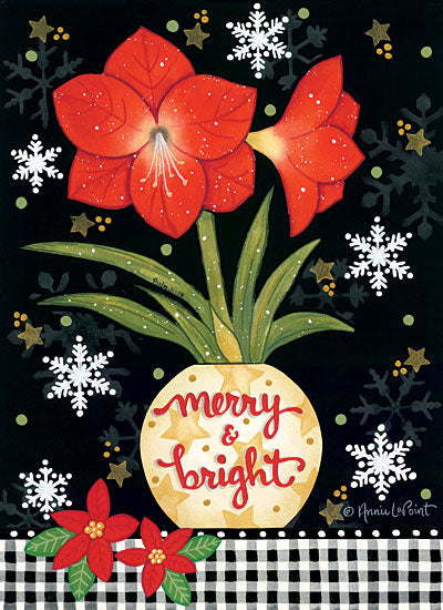 Annie LaPoint ALP1995 - ALP1995 - Merry & Bright Amaryllis - 12x16 Holidays, Christmas, Amaryllis, Flower, Black & White Gingham, Signs from Penny Lane