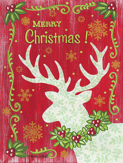 Annie LaPoint ALP2018 - ALP2018 - Merry Christmas Reindeer - 12x16 Holidays, Christmas, Reindeer, Holly, Berries, Merry Christmas from Penny Lane