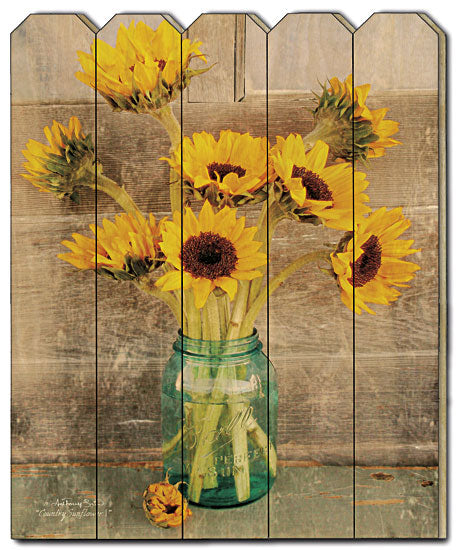 Anthony Smith ANT124PF - Country Sunflowers - Sunflowers, Mason Jar, Ball Jar, Still life, Photography, Primitive, Wood Slat Picket Fence, Country from Penny Lane Publishing